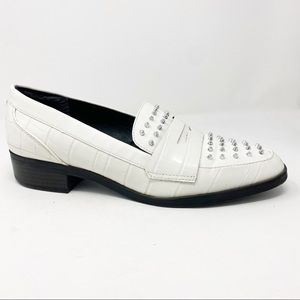 Sam Edelman Lali white studded heeled loafers 10